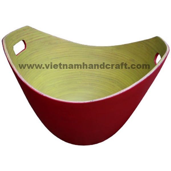 Lacquered bamboo bowl with handles. Inside in yellow, outside in red