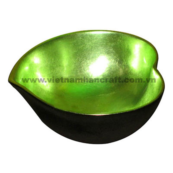 heart shaped lacquered bowl. Inside in silver metallic green, outside in black