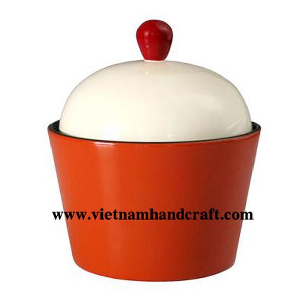 Lacquer storage bowl with lid. Inside in black, outside in white & orange