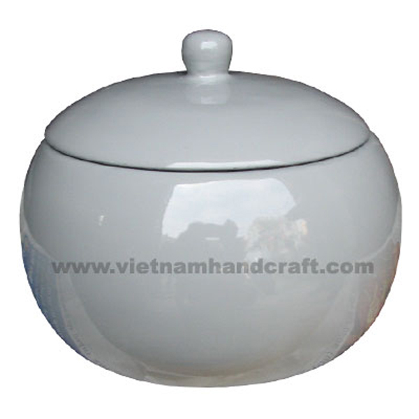 Wooden lacquerware candy jar in solid grey
