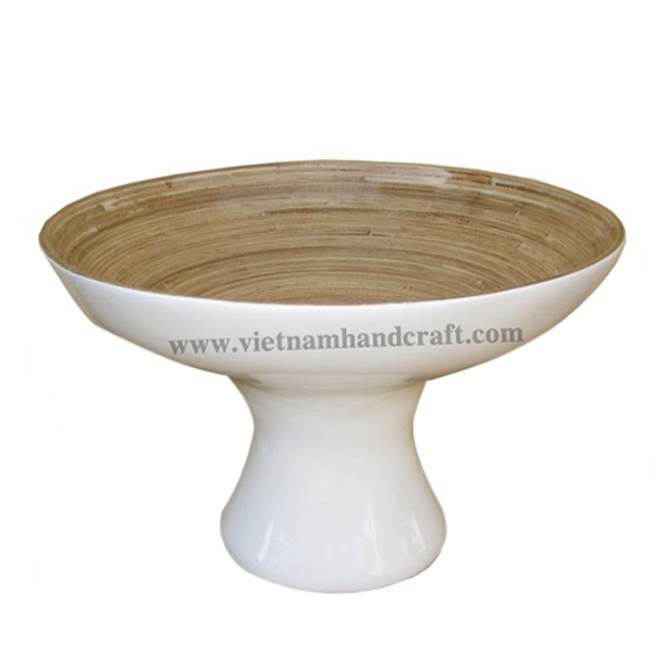 Lacquered bamboo serving bowl. Inside in natural, outside in white