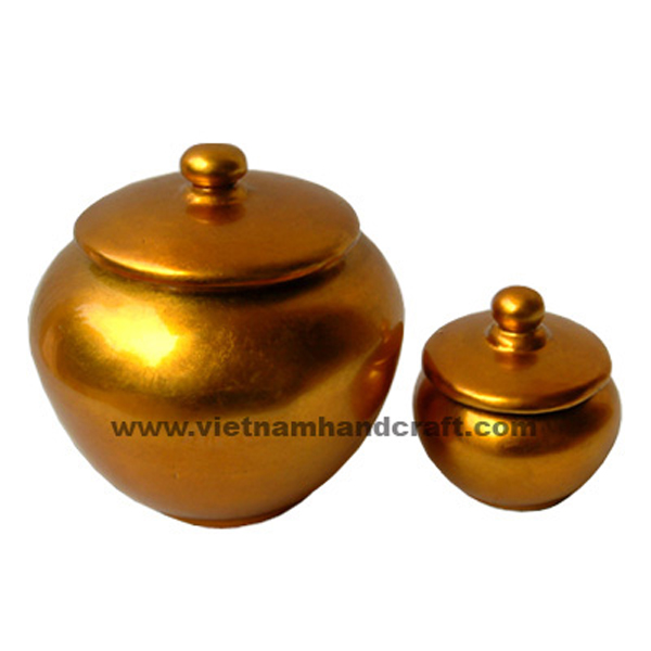 Lacquered bamboo decor jar in gold silver leaf
