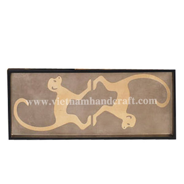 Lacquerware decor tray. Inside in bronze silver & with hand-painted gold monkeys, outside in black