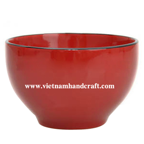 Wooden lacquerware bowl in red