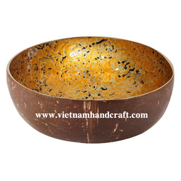 Lacquered coconut bowl. Inside in antique gold, outside in natural coconut shell