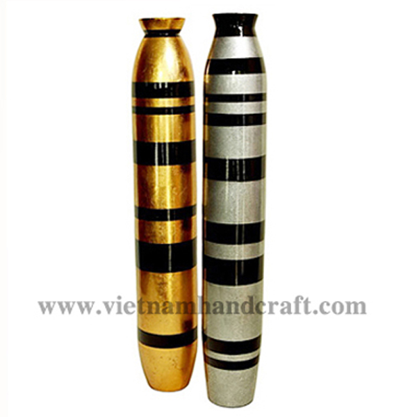 Set of 2 lacquer vases. One with black & white silver stripes, the other with black & gold silver stripes