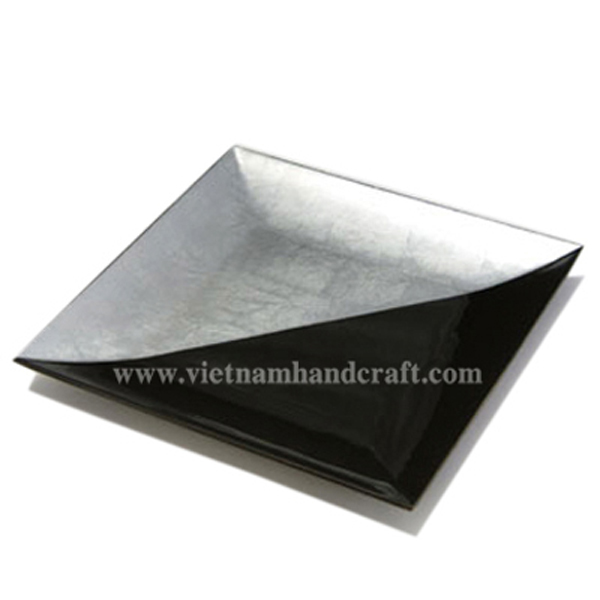 Black & white silver leaf lacquered plate