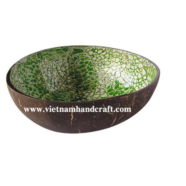 Lacquered coconut bowl. Inside inlaid with eggshell, outside in natural coconut shell