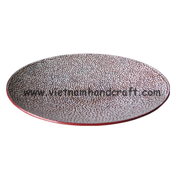 Red lacquer plate inlaid with white eggshell