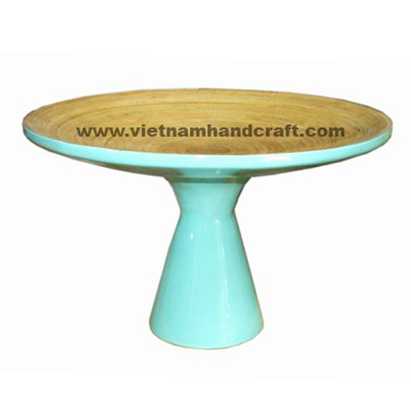 Lacquer bamboo cake plate in natural bamboo &  turquoise