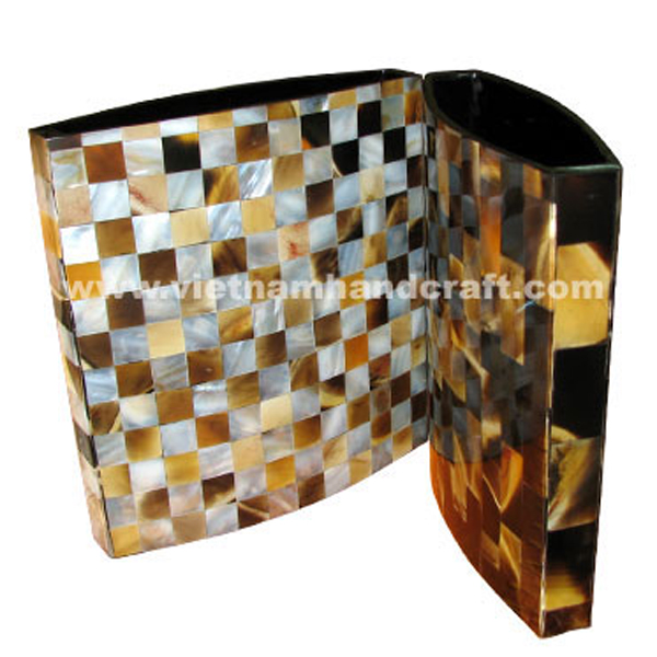 Set of 2 lacquer wooden dry flower vases. One inlaid with brown buffalo horn, the other inlaid with brown buffalo horn & mother of pearl
