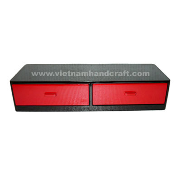 Lacquered wood medicine chest with 2 drawers in solid red & black