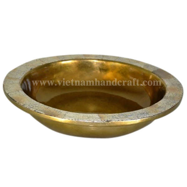 Gold leaf lacquer decoration bowl with brown eggshell inlay