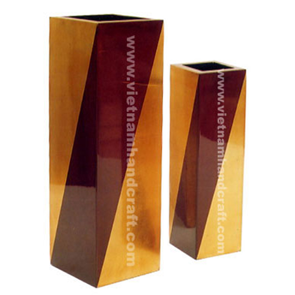 Lacquered wooden dry flower vases in solid brown & gold silver leaf