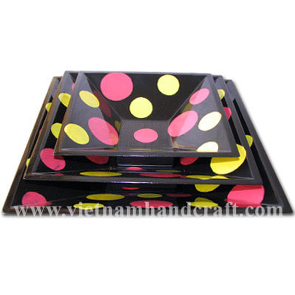 Black wooden lacquerware decor bowl with hand-painted artworks in pink & yellow