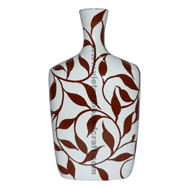 White lacquer vase with hand-painted brown artwork