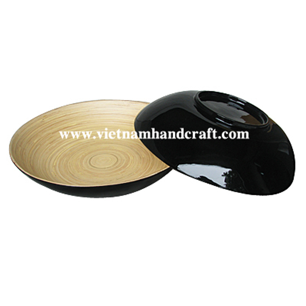 Bamboo lacquerware bowl. Inside in natural, outside in black
