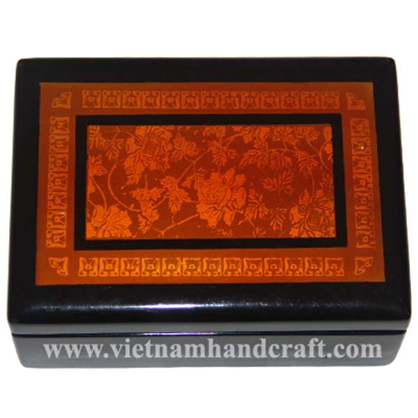 Black lacquered wooden box with hand-painted motifs