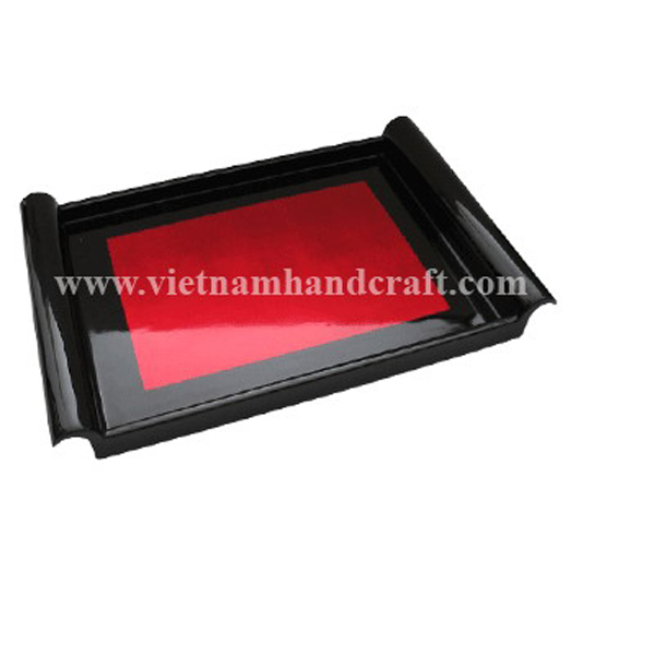 Black & red silver lacquer drink tray