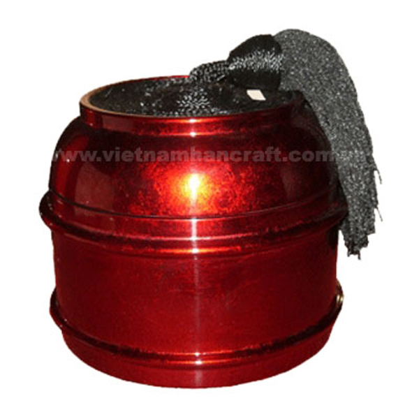 Red silver lacquered wood box with black tassel