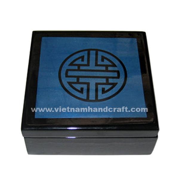 Lacquered wood decor box in black & blue silver with black Chinese character