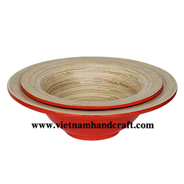 Bamboo lacquerware food bowl. Inside in natural bamboo, outside in red