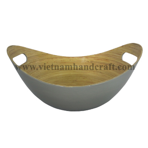 Lacquered bamboo snack bowl. Inside in natural bamboo, outside in grey