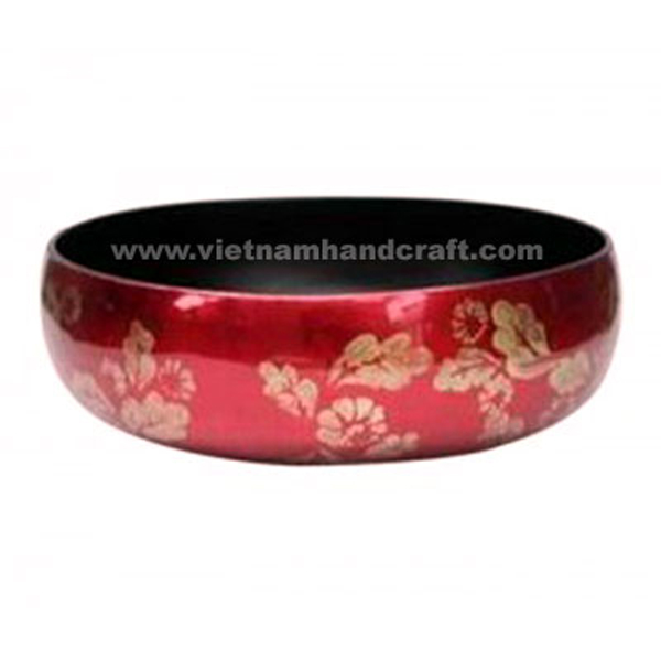 Lacquered decor bowl. Inside in black, outside in silver metallic red with hand-painted motifs