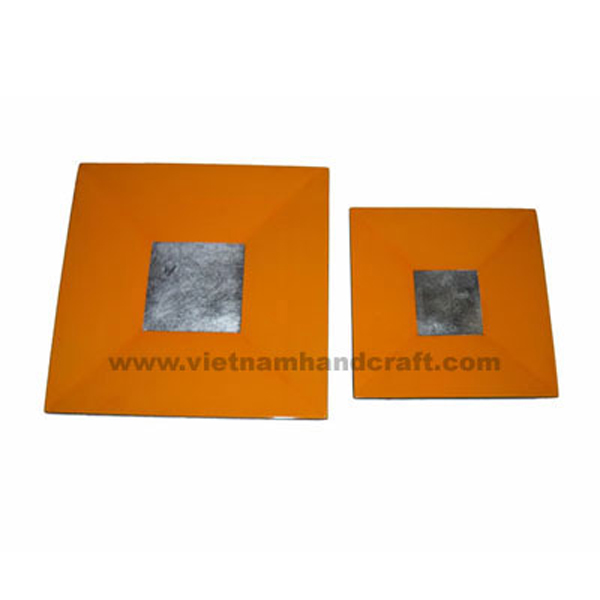 Orange lacquered plate with white silver leaf square in centre