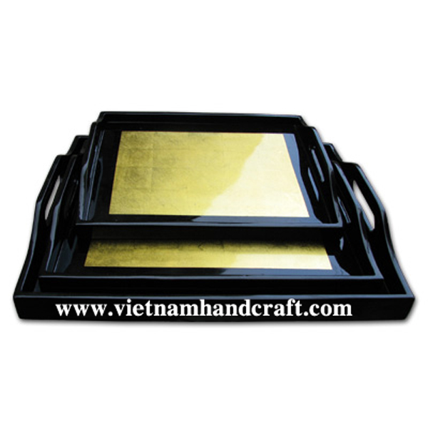 Set of 3 lacquered dinnerware tray in gold silver & black