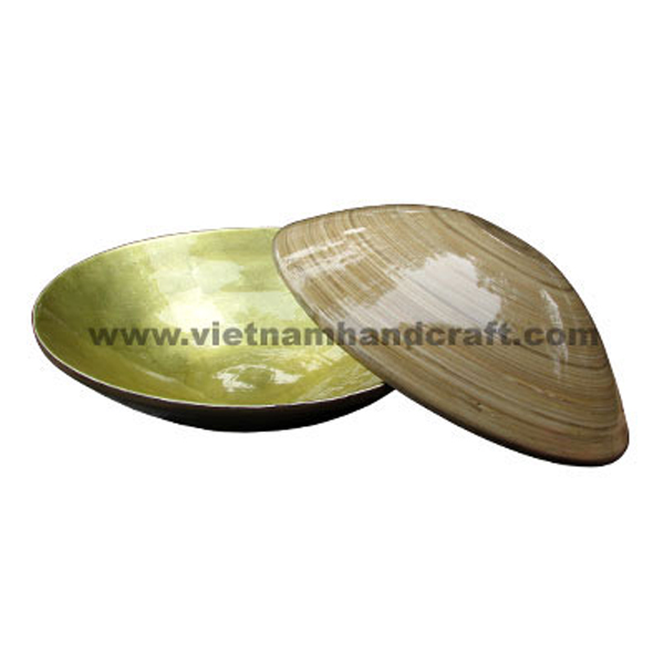 Bamboo lacquerware bowl. Inside in light gold silver leaf, outside in natural bamboo