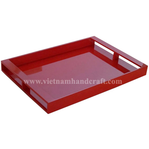 Red lacquer serving tray with handles