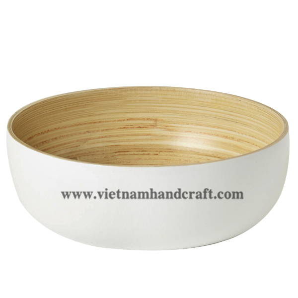 Lacquered bamboo decorative bowl. Inside in natural  bamboo, outside in solid white