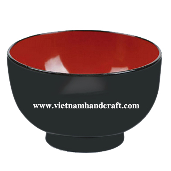 Lacquered wooden candy bowl in red & black