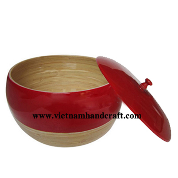 Lacquer bamboo storage bowl in natural & red
