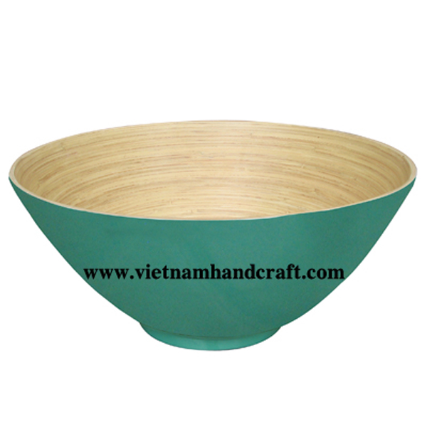 Lacquered bamboo decorative bowl. Inside in natural bamboo, outside in turquoise