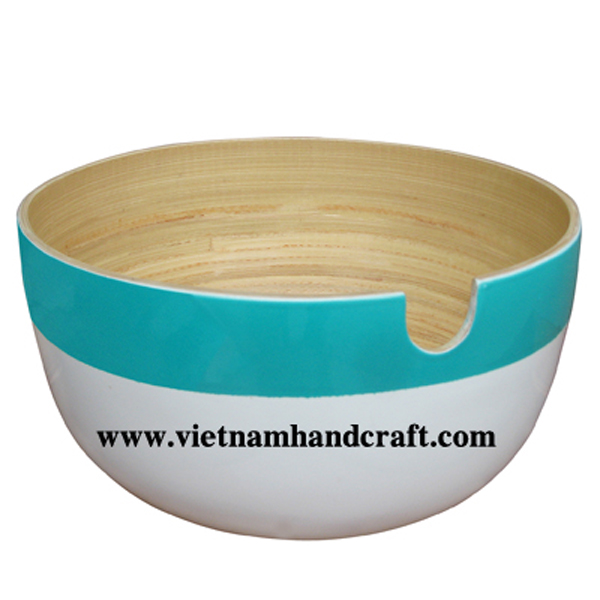 Lacquered bamboo salad bowl. Inside in natural, outside in turquoise & white