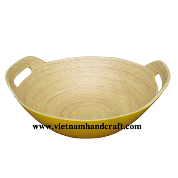 Bamboo lacquerware bowl. Inside in natural, outside in yellow