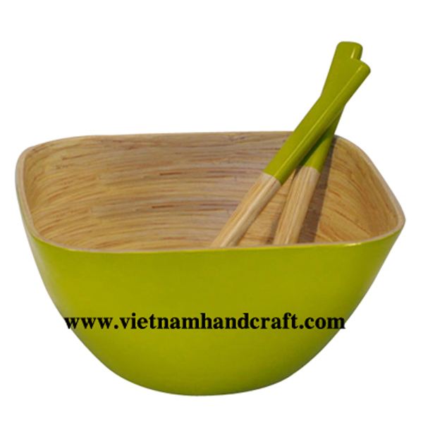 Lacquer bamboo salad bowl with salad server
