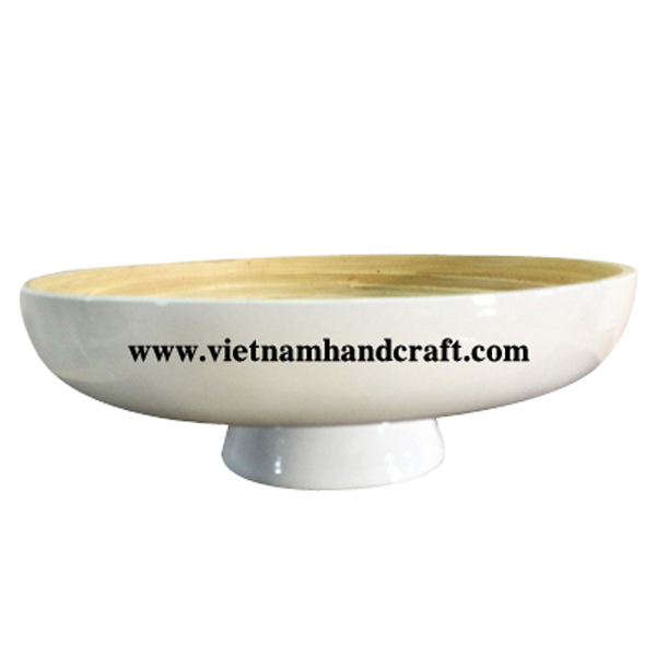 Coiled bamboo fruit bowl in natural & grey