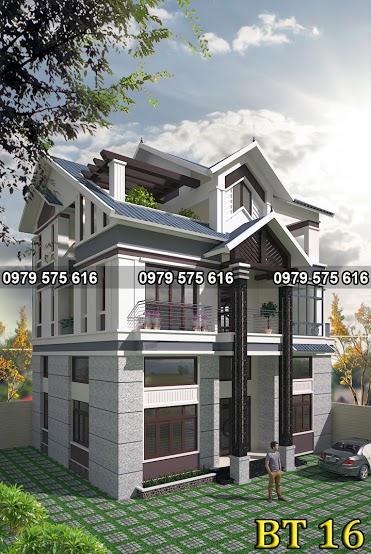 Thiết kế biệt thự mái thái (11x13m)