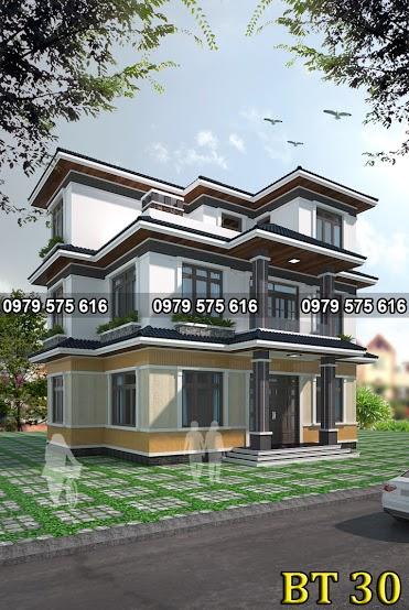 Thiết kế biệt thự mái thái (8x13m)