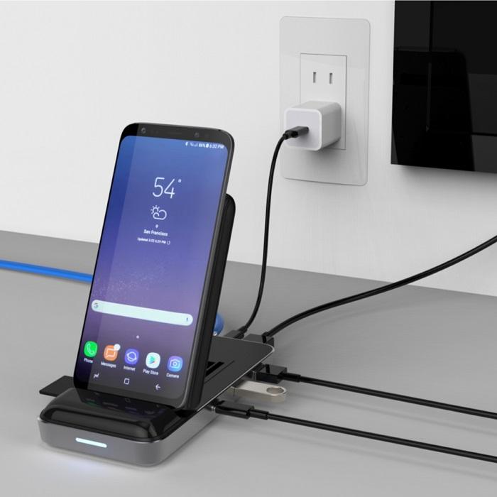 Đế sạc kiêm cổng chuyển HyperDrive 7.5W Wireless Charger USB-C Hub