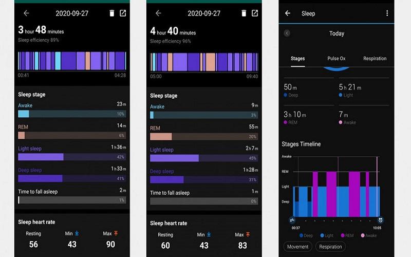 So sánh theo dõi giấc ngủ của: TicWatch Pro 3 (trái và giữa) và Garmin Forerunner 745 (phải)