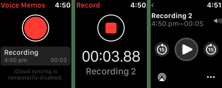 Ứng dụng Voice Memos trên Apple Watch