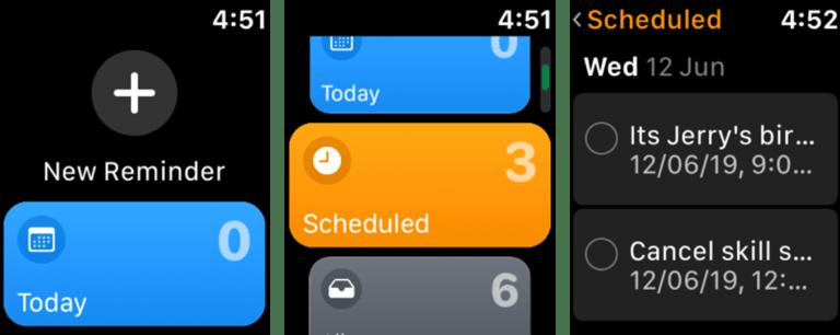 Ứng dụng Reminders trên Apple Watch