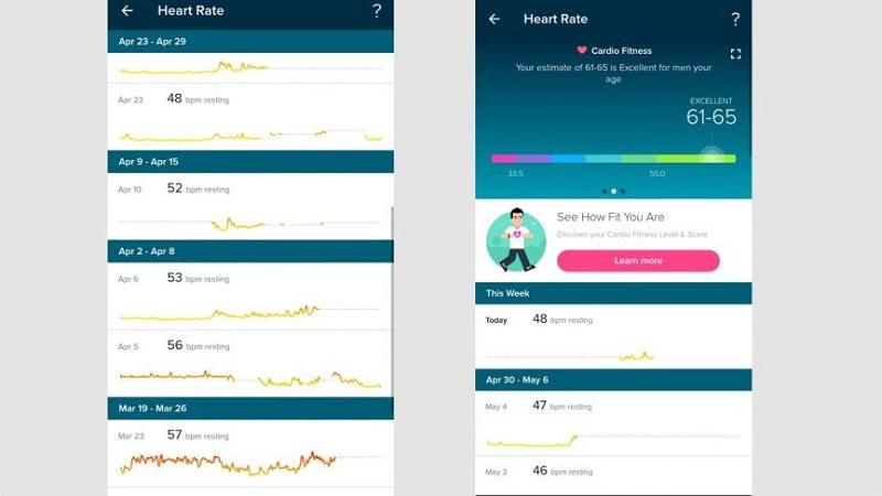 Dữ liệu đo nhịp tim trên FItbit