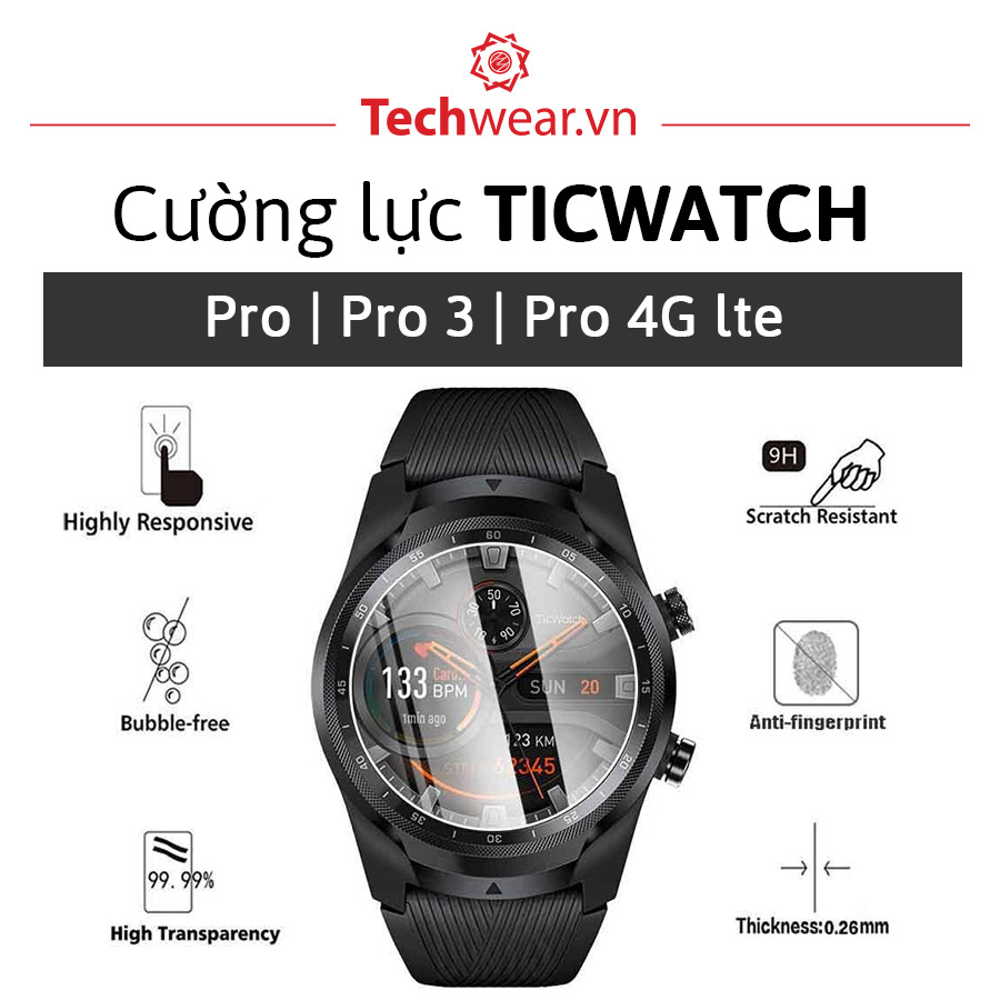 Kính cường lực đồng hồ Ticwatch Pro 4G | Pro 3
