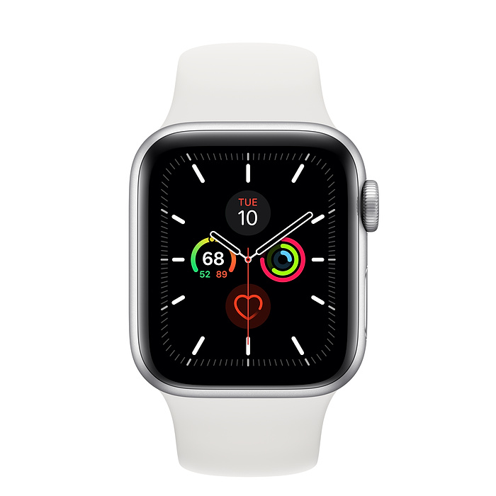 Apple Watch Series 5 Silver Aluminium Case with White Sport Band