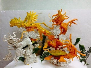 Fruit carving Dragon and cloud